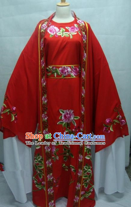 Traditional Chinese Beijing Opera Young Men Red Robe Peking Opera Niche Costume for Adults