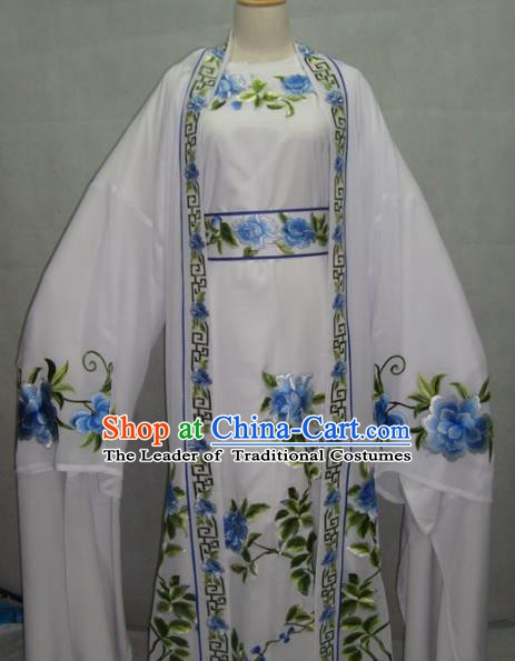 Traditional Chinese Beijing Opera Young Men White Robe Peking Opera Niche Costume for Adults