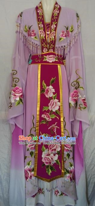 Traditional Chinese Beijing Opera Diva Embroidered Costume Peking Opera Young Lady Purple Dress