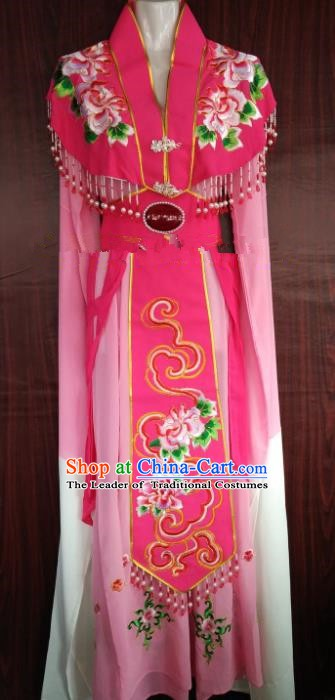 Traditional Chinese Beijing Opera Diva Embroidered Costume Professional Peking Opera Pink Dress