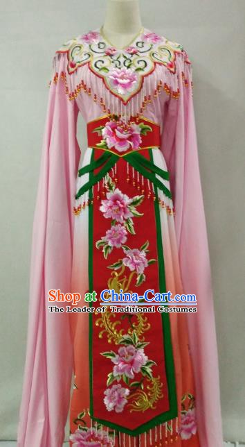 Traditional Chinese Beijing Opera Princess Pink Dress Professional Peking Opera Diva Embroidered Clothing