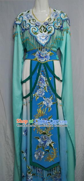 Traditional Chinese Beijing Opera Princess Green Dress Professional Peking Opera Diva Embroidered Clothing