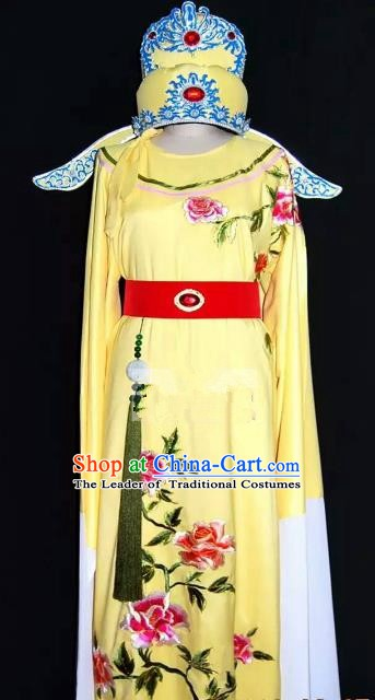 Top Grade Chinese Beijing Opera Embroidered Yellow Robe Peking Opera Niche Costume and Hat for Adults