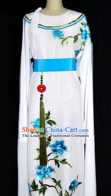 Top Grade Chinese Beijing Opera Embroidered Blue Peony Robe Peking Opera Niche Costume for Adults