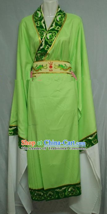 Top Grade Chinese Beijing Opera Embroidered Green Robe Peking Opera Niche Costume for Adults