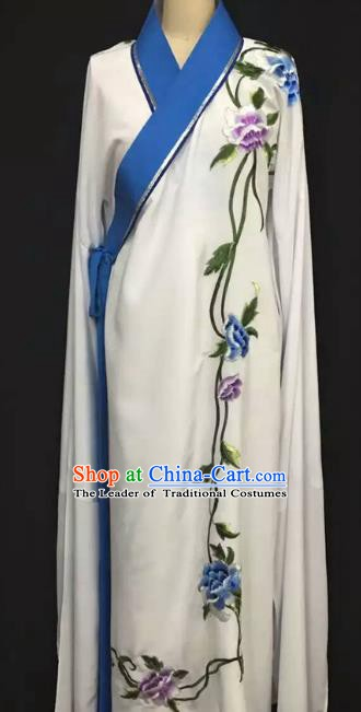 Top Grade Chinese Beijing Opera Embroidered Blue Sleeve Robe Peking Opera Niche Costume for Adults