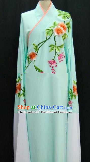 Traditional Chinese Beijing Opera Embroidered Light Green Robe Peking Opera Niche Costume for Adults