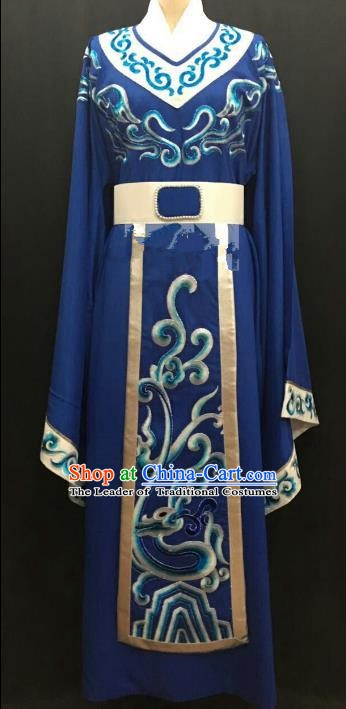 Top Grade Chinese Beijing Opera Young Men Blue Robe Peking Opera Niche Costume for Adults
