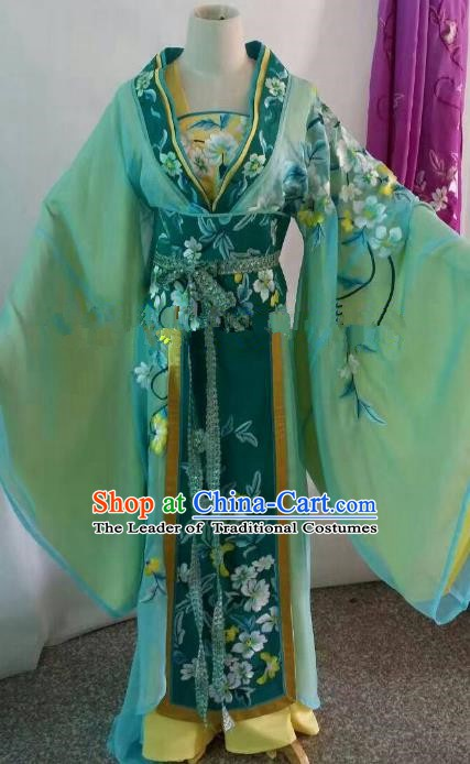 Traditional Chinese Beijing Opera Palace Lady Embroidered Green Dress Professional Peking Opera Diva Clothing