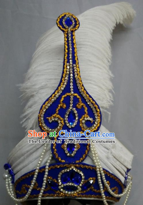 China Traditional Beijing Opera Prince Hair Accessories Chinese Peking Opera Niche Feather Hats for Men