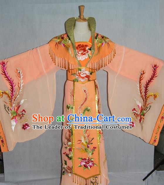 Traditional Chinese Beijing Opera Imperial Empress Costume Professional Peking Opera Diva Orange Dress