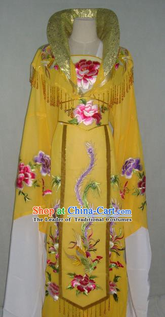 Top Grade Chinese Beijing Opera Actress Costume China Peking Opera Imperial Empress Yellow Dress