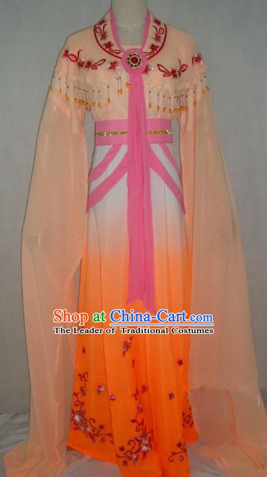 Top Grade Chinese Beijing Opera Princess Costume China Professional Peking Opera Orange Dress