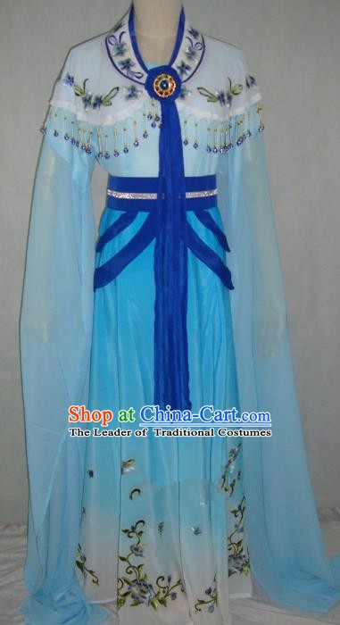 Top Grade Chinese Beijing Opera Princess Costume China Professional Peking Opera Blue Dress