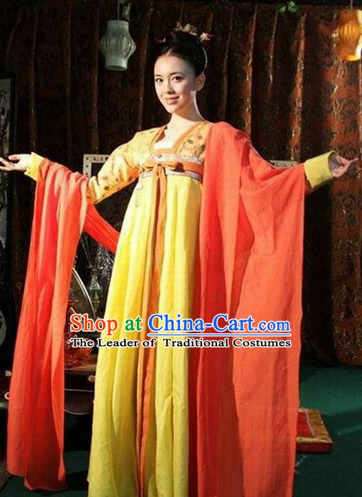 Chinese Ancient Tang Dynasty Nobility Lady Embroidered Historical Costume for Women