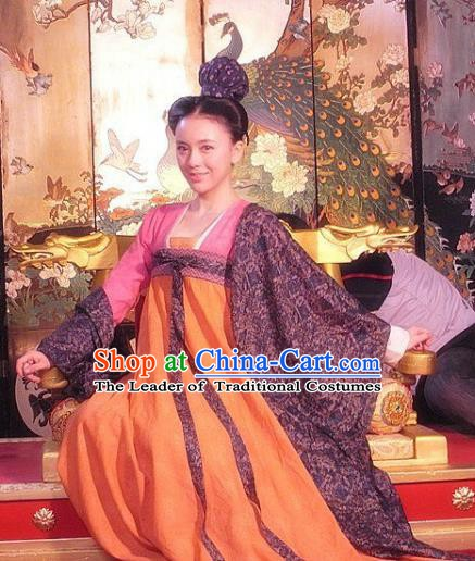 Chinese Ancient Tang Dynasty Nobility Lady Maidenform Embroidered Historical Costume for Women