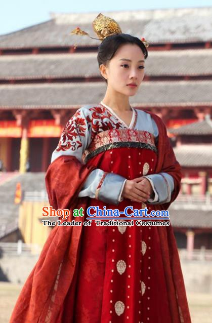 Chinese Ancient Tang Dynasty Princess Chuyun Hanfu Dress Historical Costume for Women