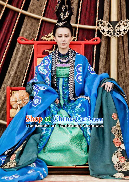 Chinese Ancient Tang Dynasty Emperor Wu Zetian Hanfu Dress Empress Tailing Embroidered Historical Costume for Women