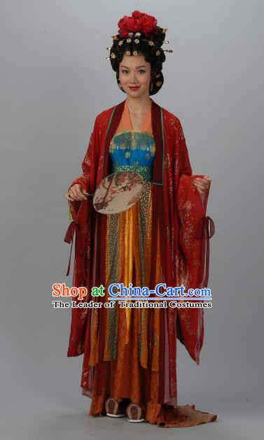 Chinese Ancient Tang Dynasty Imperial Consort Qin of Li Xian Hanfu Dress Historical Costume for Women