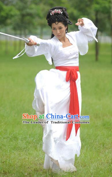 Chinese Ancient Tang Dynasty Swordswoman Hanfu Dress Historical Costume for Women