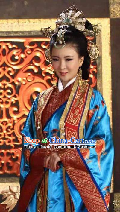 Chinese Ancient Tang Dynasty Empress Embroidered Dress Historical Costume for Women