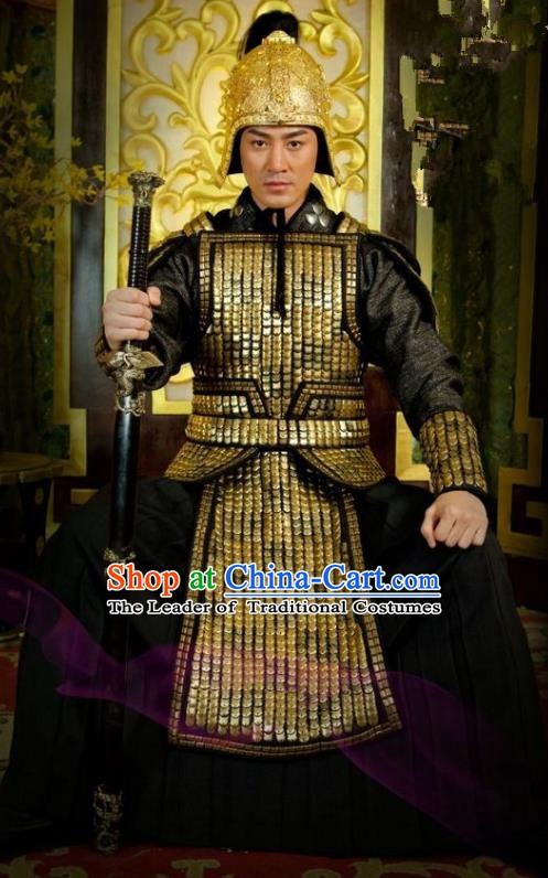 Chinese Ancient Tang Dynasty General Replica Costume Helmet and Armour for Men