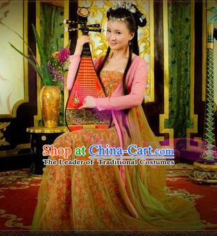 Chinese Ancient Tang Dynasty Geisha Dress Courtesan Historical Costume for Women