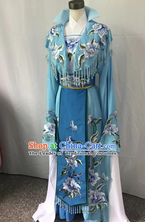 Top Grade Chinese Beijing Opera Actress Blue Dress China Peking Opera Diva Embroidered Costume