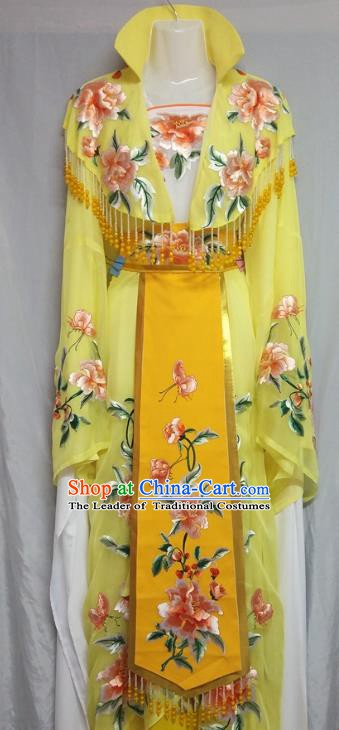 Top Grade Chinese Beijing Opera Actress Yellow Dress China Peking Opera Diva Embroidered Costume
