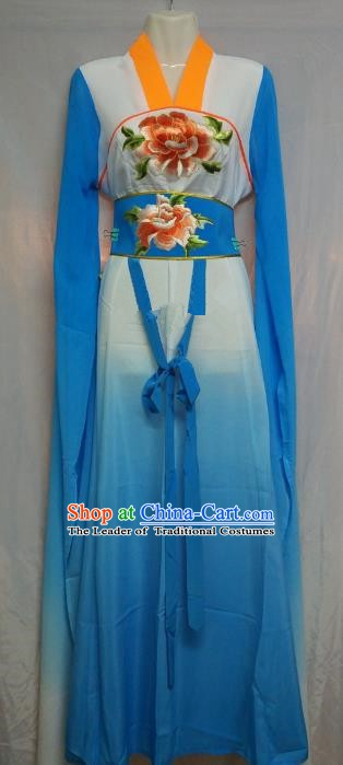 Top Grade Chinese Beijing Opera Actress Water Sleeve Blue Dress China Peking Opera Diva Embroidered Costume