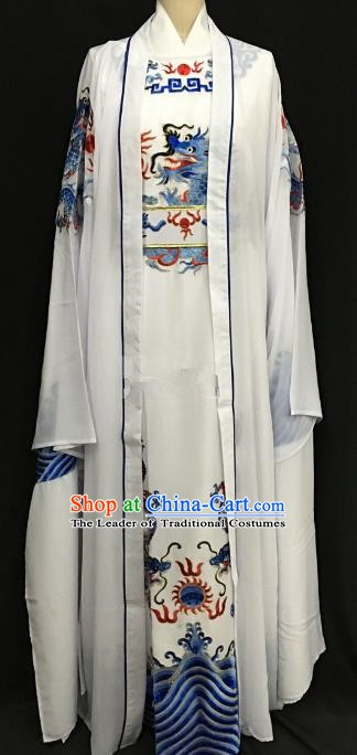 Chinese Beijing Opera Prince White Costume Peking Opera Niche Embroidery Robe for Adults
