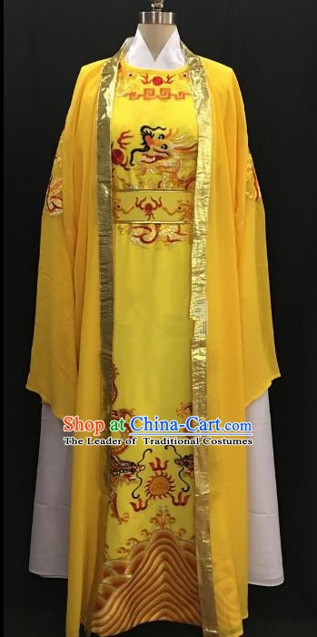 Chinese Beijing Opera Prince Yellow Costume Peking Opera Niche Embroidery Robe for Adults