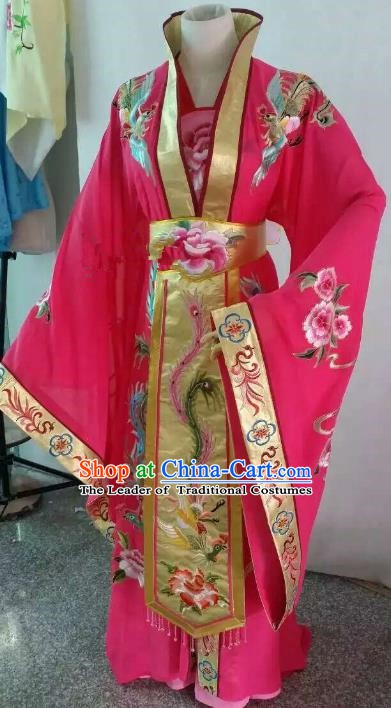 Top Grade Chinese Beijing Opera Diva Rosy Dress China Peking Opera Empress Embroidered Costume