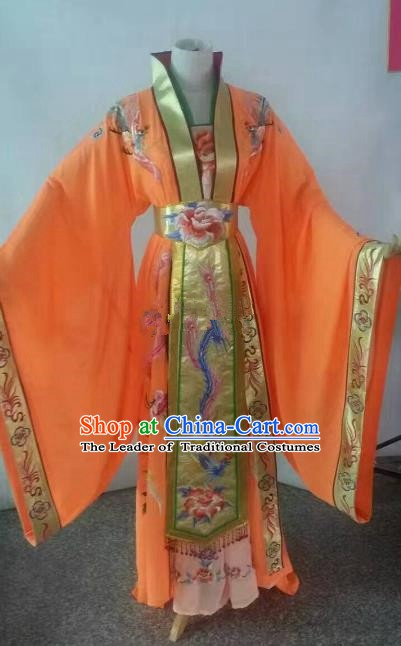 Top Grade Chinese Beijing Opera Diva Orange Dress China Peking Opera Empress Embroidered Costume