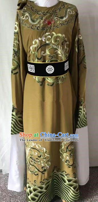 Chinese Beijing Opera Scholar Costume Peking Opera Niche Ginger Embroidery Robe for Adults