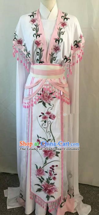 Top Grade Chinese Beijing Opera Diva Dress China Peking Opera Princess Embroidered Pink Flowers Costume