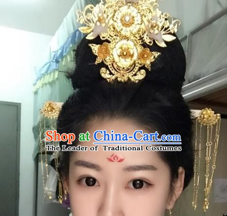 Chinese Ancient Hair Accessories Bride Wedding Barrettes Phoenix Coronet Tassel Hairpins Headwear for Women