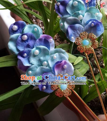 Chinese Ancient Hair Accessories Bride Blue Hairpins Headwear for Women