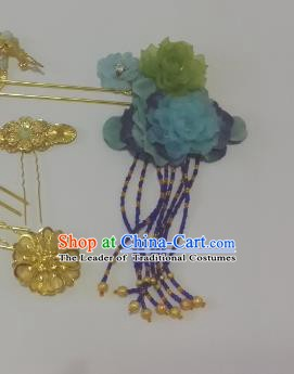 Chinese Ancient Hair Accessories Bride Blue Flowers Tassel Hairpins Headwear for Women