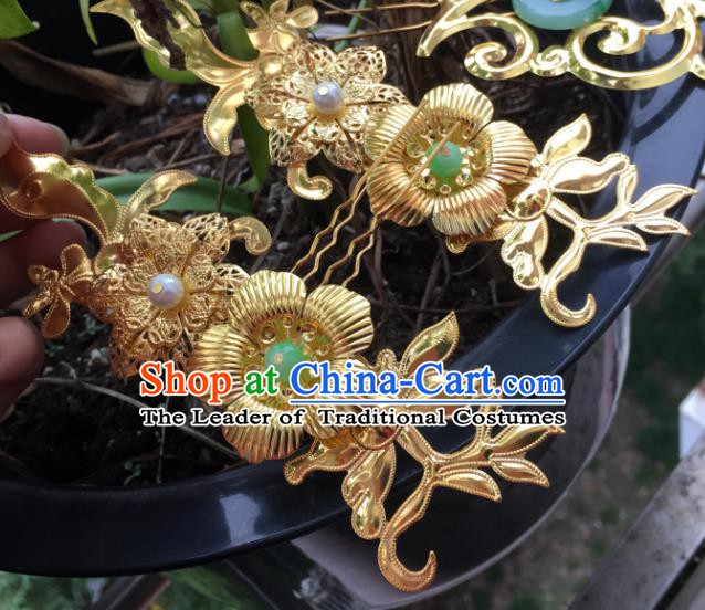 Chinese Ancient Hair Accessories Hair Clip Golden Hairpins Headwear for Women