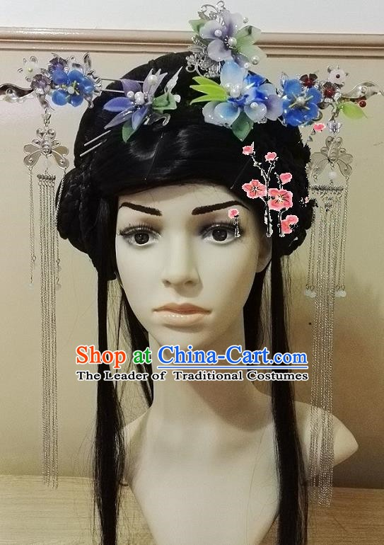 Chinese Ancient Palace Lady Hair Accessories Blue Flowers Hairpins Tassel Step Shake Complete Set for Women
