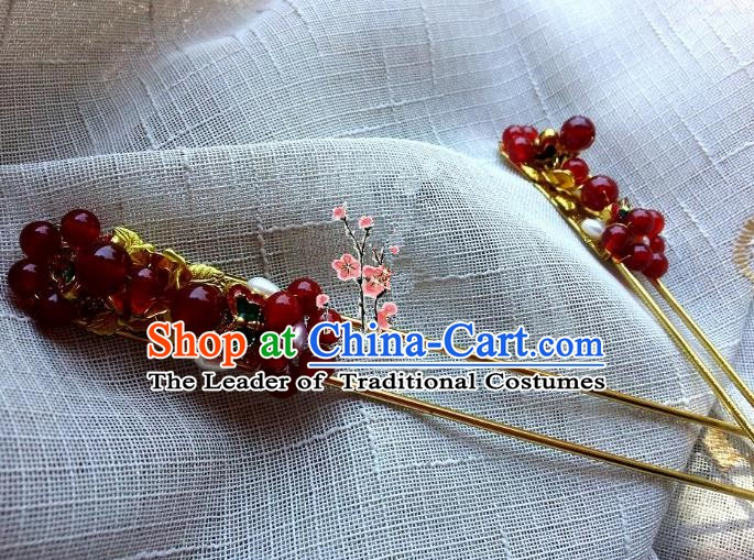 Chinese Ancient Palace Lady Hair Accessories Red Beads Hairpins for Women