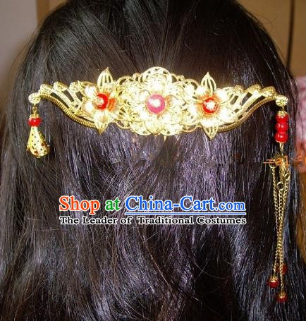 Chinese Ancient Hair Accessories Hairpins Golden Hanfu Hair Comb for Women