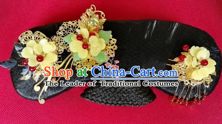 Chinese Ancient Qing Dynasty Hair Accessories Manchu Lady Hairpins and Wig for Women