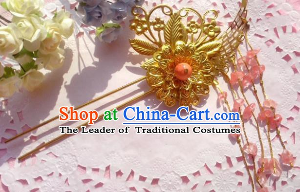 Chinese Ancient Princess Hair Accessories Pink Beads Tassel Hairpins for Women