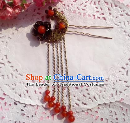 Chinese Ancient Princess Hair Accessories Red Beads Tassel Hair Clip Hairpins for Women