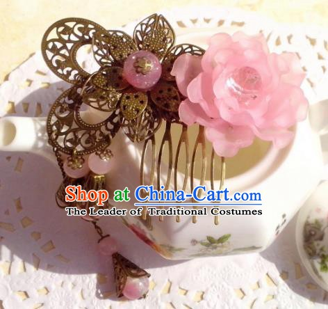 Chinese Ancient Hair Accessories Hanfu Hairpins Butterfly Flowers Hair Comb for Women