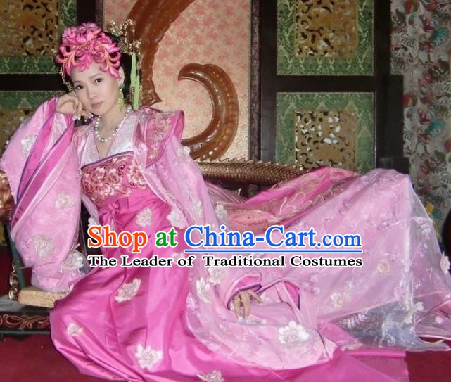 Chinese Tang Dynasty Palace Lady Yang Yuhuan Embroidered Dress Ancient Imperial Concubine Historical Costume for Women
