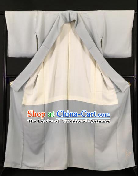 Japanese Ancient Male Grey Kimono Costume Traditional Wafuku Hakama Yukata Robe for Men