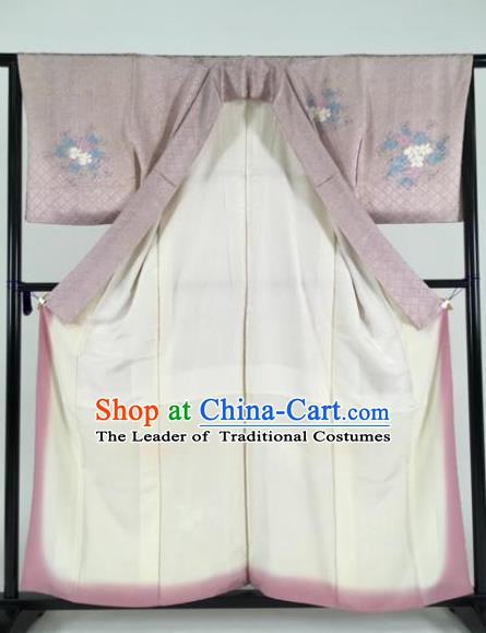 Japan Traditional Kimonos Painting Lilac Furisode Kimono Ancient Yukata Dress Formal Costume for Women